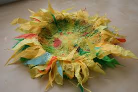 pink and green mama re cycled tissue paper sunflower bowl craft