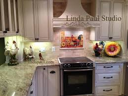 kitchen backsplash murals rooster kitchen decor backsplash with sunflowers tile murals of
