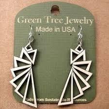 green tree earrings twilight zone green tree jewelry teal laser cut wooden earrings