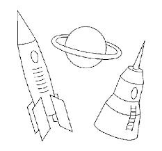Coloriage Fusée ariane et Planète simple