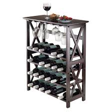 amazon com winsome wood rio wine rack 24 bottle glass hanger