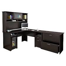 espresso desk with hutch bush cabot collection l desk hutch and lateral file espresso oak