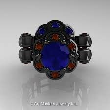 engagement rings ta masters caravaggio 14k black gold 1 0 ct blue sapphire brown