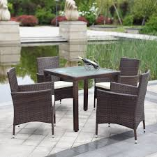 patio patio table and chairs set black and cream rectangle