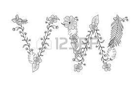 tropical floral summer pattern ornamental font set