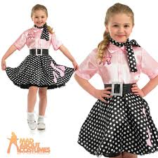 50s Halloween Costumes Kids Girls Rock Roll Costume Child 50s Poodle Hop Fancy Dress