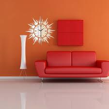 diy 3d sun shape mirror wall clock wall stickers home decor newchic