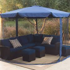 11 Ft Offset Patio Umbrella 11 Ft Cantilever Crank Lift Patio Umbrella In Blue With Removable