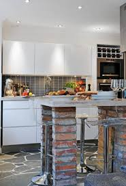 Exposed Brick Wall by Welcoming Exposed Brick Wall Kitchen Inside Country House With