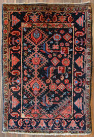 antique persian small accent rug 2x3 ft navy u0026 coral hand
