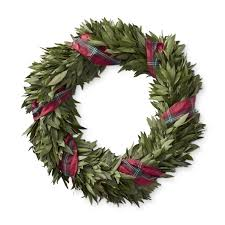 bay leaf wreath bay leaf wreath with tartan ribbon williams sonoma