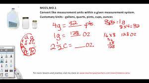 measurement conversion practice problems cups gallons 5th