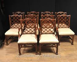 Chippendale Dining Room Set by 10 Hand Carved Mahogany Gothic Chippendale Dining Chairs English