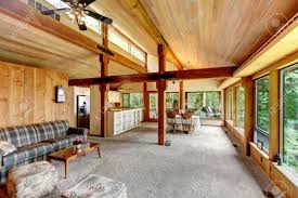 log cabin open floor plans open floor plan in log cabin house view of living room and kitchen