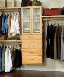 closet organizer ideas made from cream wooden material with chrome