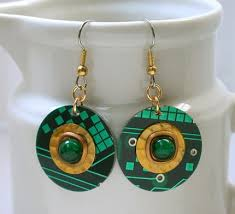 eco friendly earrings recycled eco friendly christmas circuit board earrings