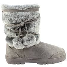 womens fur boots uk womens fur lined bobble sole boots amazon co uk
