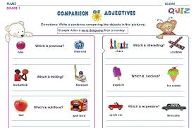grammar worksheets gr 1 comparison of adjective using more and