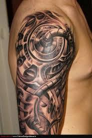 biomechanical scorpion tattoo on back shoulder