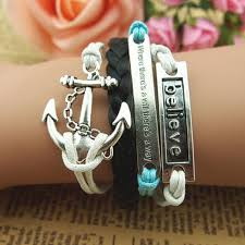 braid hand bracelet images Fashion unique hand chain anchor best friend bracelet charm 37848