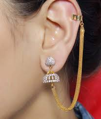 ear cuffs india much more indian style gold plated jhumki design ear