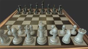 3d asset low poly chess set cgtrader