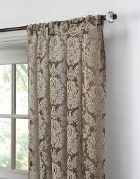 Demask Curtains Traditional Damask Lace Pole Top Panel Chocolate Curtainworks