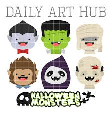 cute halloween monster heads clip art set daily art hub