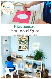 montessori inspired homeschool space with a free insect art