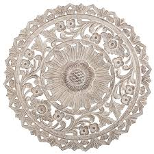 smartness design wood medallion wall white carved whitewash