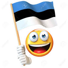 Estonian Flag Emoji Holding Estonian Flag Emoticon Waving National Flag Of