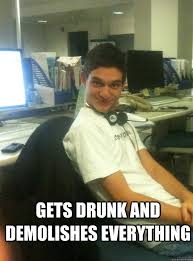 Call Centre Meme - gets drunk and demolishes everything curious call center guy