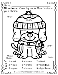 color by number winter animals mixed multiplication and division
