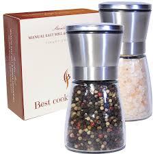 amazon com best salt and pepper grinder set stainless steel