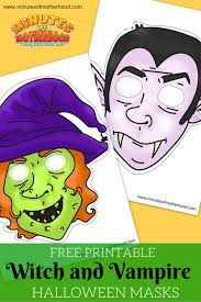witch vampire masks free printable halloween fun