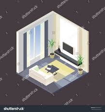 3d room isometric modern living room icon tv stock vector 668528701