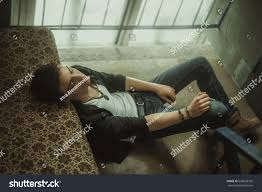 Beautiful Appearance Young Guy Smokes Entrance Poses Mens Stock Photo 659028769