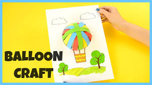 how to make a 3d paper air balloon paper craft for kids youtube