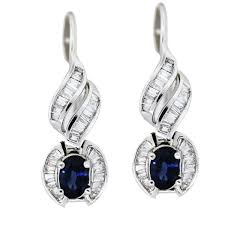 white gold earrings white gold sapphire and diamond drop earrings boca raton
