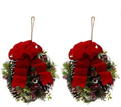set of 2 iced pine kissing balls by valerie page 1 u2014 qvc com
