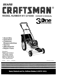 craftsman lawn mowers 3 one convertible 917 37459 pdf user u0027s