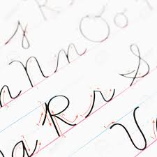 lined paper for cursive writing practice close up of cursive handwriting practice page stock photo close up of cursive handwriting practice page stock photo 2616713