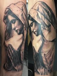 black ink saint mary mother of god tattoo design for sleeve by