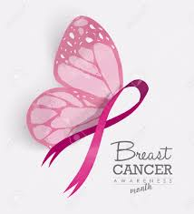 breast cancer awareness month with pink butterfly wings on ribbon
