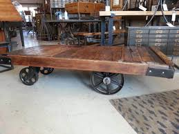 Industrial Cart Coffee Table Vintage Industrial Factory Cart Coffee Table U2014 Home Design And