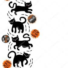 halloween white background black cats with halloween wishes holiday seamless vertical border