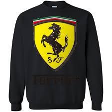 ferrari logo ferrari logo printed crewneck pullover sweatshirt 8 oz u2013 mushi tee