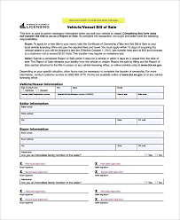 Free Motor Vehicle Bill Of Sale Template by Sle Motorcycle Bill Of Sale 7 Free Documents In Pdf