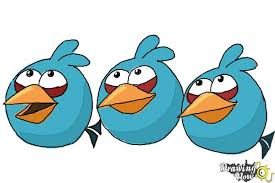 draw angry birds blues blue birds drawingnow