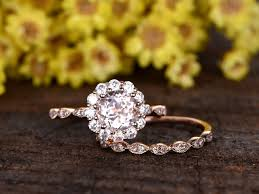 Flower Wedding Ring by 1 Carat Round Morganite Wedding Set 14k Rose Gold Flower